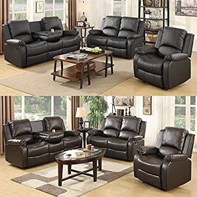 UEnjoy 3+2+1 Seater Leather Recliner Sofa Suite from JIAJU
