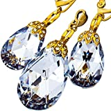 Schöne Ohrringe Anhänger Swarovski® Kristalle Comet Special vergoldet Silber Zertifikat