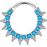 OUFER 1 pz 16 g Daith orecchini cerchio turchese perline scintillanti setto nasale anello piercing gioielli