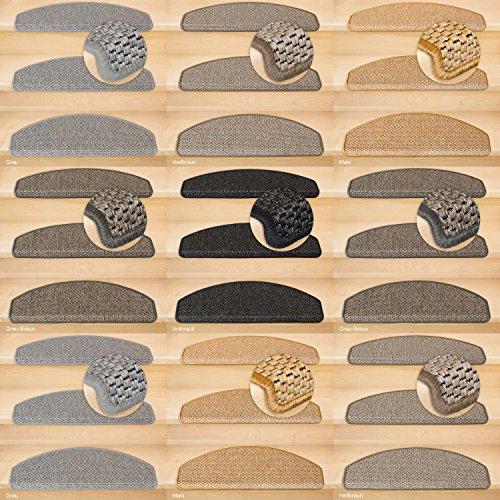 Kettelservice-Metzker® Stufenmatten Göteborg Halbrund | in verschiedenen Setvarianten | 65x24x3,5cm | Anthrazit 15 Stück