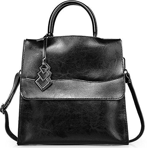 Xinmaoyuan Sacs à main pour femme Sacs à main en cuir sac à main en cuir Paquet Locomotive Sac d'épaule Messenger Sac pour femme de grande capacité Black