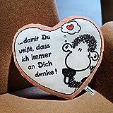 Sheepworld 42693 Plüsch-Kissen in Herz-Form ?? damit Du weißt, dass ich immer an dich denke!?, 30 cm x 27 cm, Geschenk-Artikel -