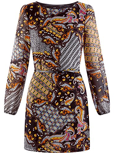 oodji Ultra Damen Kleid Basic mit Gürtel Mehrfarbig (2955E)