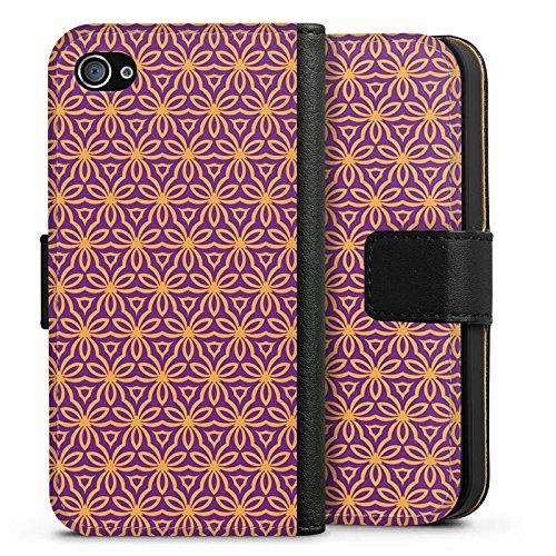 Apple iPhone X Silikon Hülle Case Schutzhülle Blumen Illusion Muster Sideflip Tasche schwarz
