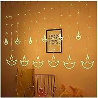 DesiDiya® Warm White Diya/Diwali Light Curtain, String Lights with 12 Hanging Diyas, 8 Flashing Modes, Decoration…