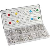 DiCUNO 450pcs(5 Couleurs x 90pcs) 5mm Bi-pin LED Leuchtdiode, Transparante ronde kop, LED-lamp met hoge helderheid, 5 Kleuren
