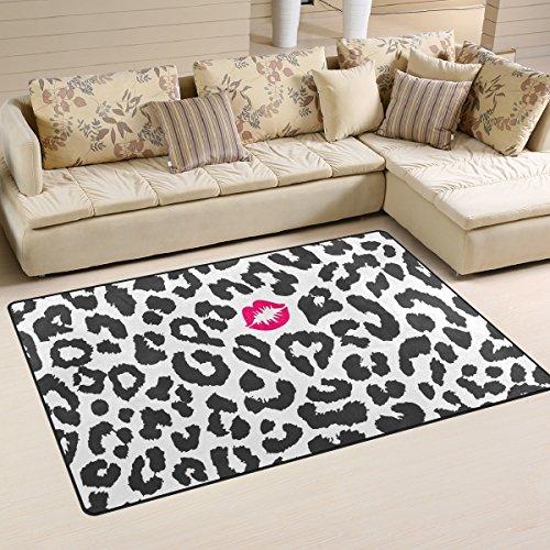COOSUN Negro y Textura de Leopardo Blanco con el Beso Imprimir Manta de área de la Alfombra Antideslizante Estera del Piso felpudos para Sala de Estar Dormitorio 152,4 x 99,1 cm (60 x 39 Pulgadas) 6