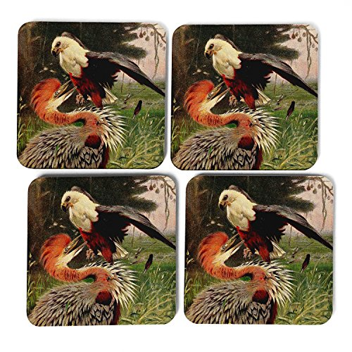 big-box-art-vintage-w-kuhnert-giant-heron-sea-eagle-coasters-multi-colour-9-x-9-cm-pack-of-4