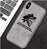 Art-design Coque iPhone X et XS Cowboy Crâne Tête de Mort Scull Cigarette The Stage Extends As Far As The Heart Goes en Tissu Haute Qualité Gris ABOLD Attempt is Half Success Silicone Souple