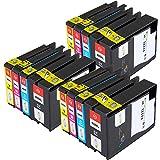 Win-Tinten Kompatibel Tintenpatronen HP 932XL 933XL für HP Officejet 6100 6600 6700 7110 7610 7612 Drucker (3 Schwarz+ 3 Cyan+ 3 Magenta+3 Gelb)