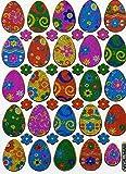 Ostereier Ei Eier Ostern Aufkleber 41-teilig 1 Blatt 135 mm x 100 mm Sticker Basteln Kinder Party Metallic-Look