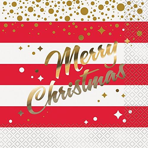 Unique Party Supplies Folie Gold Sparkle Christmas Papier Servietten, 16Stück