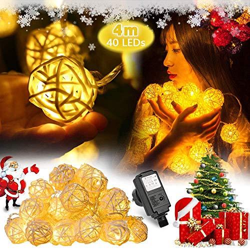 Rattan Ball Lichterkette, 40 LEDS 4M LED-Lichterkette Wasserdicht mit 8 Modi, Innen Weinachtsbeleuchtung für Weihnachtsbaum, Party, Garten, Balkon, Zimmer Deko