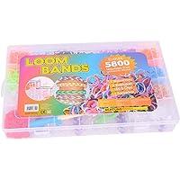 XXL 5800 Loom Lot de 5800 élastiques multicolores avec crochets à tisser et pendentifs en S (5800 pièces)