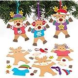 Kit Decorazioni Renne con Maglione Natalizio per Bambini da Creare, Decorare e Appendere all'Albero di Natale (confezione da 6)