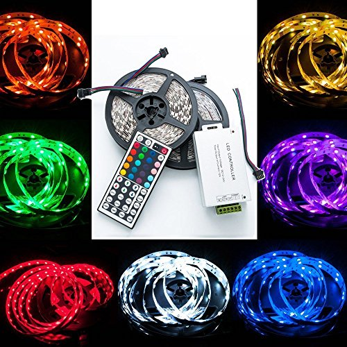 QUMOX 20m (2x10m) Bande Ruban Flexible Lumineux 5050 Smd 600 Leds Rgb + 44 Keys Télécommande