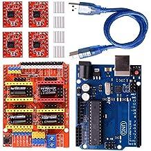 longruner Grbl CNC Shield Tarjeta de expansión v3.0+ Uno R3junta + A4988controlador de motor paso a paso con disipador de calor para Arduino Kits lk75
