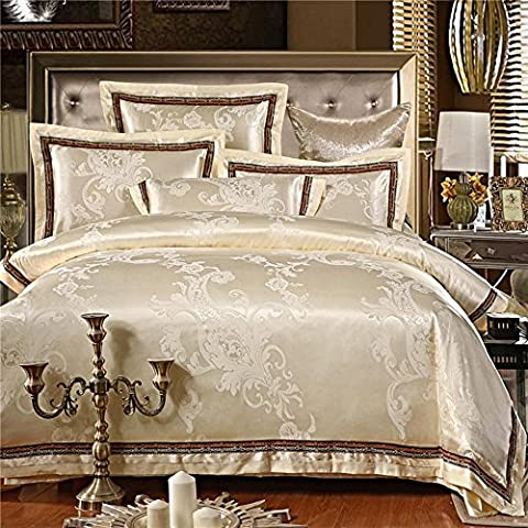 RongYao Europeo stile Palace Bedding Sets puro cotone raso Jacquard lenzuola lusso matrimonio biancheria da letto, 4 pezzi (non includere Consolatore), beige, queen