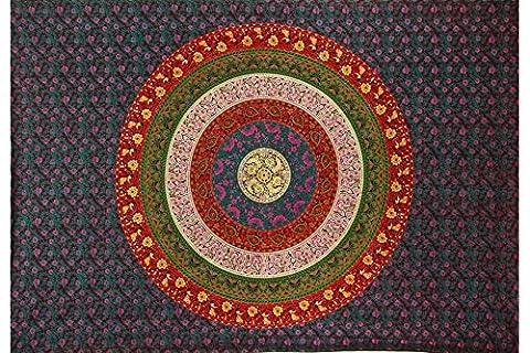 Handicrunch Soleil Joy Cercle des fleurs Barhmeri indienne Tapisserie Plage Feuille Hanging Wall Art (60x90 pouces)Soleil Joy Cercle des fleurs Barhmeri indienne Tapisserie Plage Feuille Hanging Wall Art (60x90 pouces)
