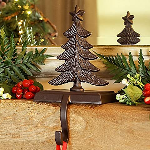 SET OF 4 - Cast Iron Christmas Tree Christmas Stocking Holder Hanger - Beautiful, traditional, rustic style stocking holders for the festive season - perfect for displaying velvet stockings and decorative accessories - makes a great standing decoration - H14cm