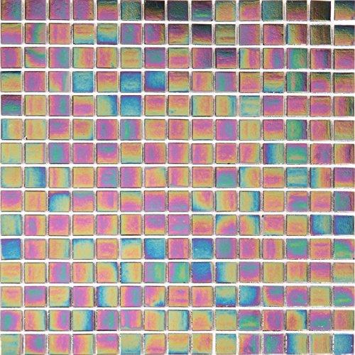 Purple Iridescent Textured Glass Mosaic Tile Sheet (MT0141)