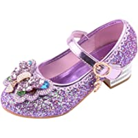 Harpily Princess Girls Wedding Shoes Crystal Bowknot Court Shoes Low Heeled Evening Party Dress Up Shoes