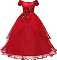 NNJXD Mädchen Applique Abschlussball-Kleider weg von der Schulter Hochzeit Geburtstag Partei Prinzessin lange Kleider