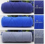 #7: New Special Skincare 4ply Cotton Velvet Silk Yarn for Hand Knitting/Crochet Baby clothing, Scarf, Coat, Sweater and much more etc… Soft Yarn 150 grams (3 balls Combo pack - Navy Blue 50 Grams+ Grey 50 Grams + Royal Ink Blue 50Grams) Introductory Offer.(33,34,34))