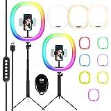 "LED Ringlicht RGB, Chesbung LED Ringlichtstatief, 12""Ringlicht met 10 RGB-Kleurwisselingen + 10 Helderheidsniveaus, Tafelring"
