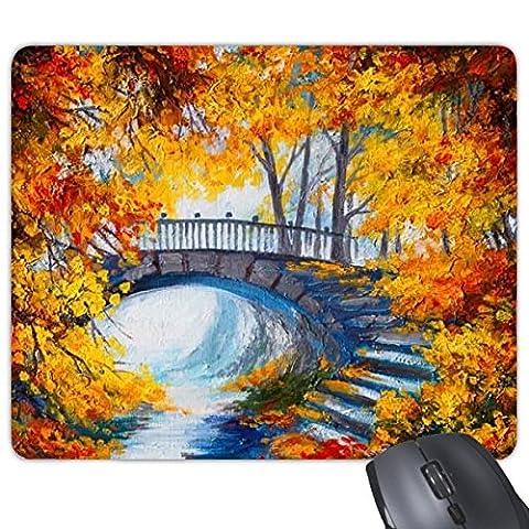 Ölgemälde Brücke Fluss Baum gelb Blätter Herbst Landschaft Illustration Muster Rechteck rutschfeste Gummi Mauspad Spiel Maus Pad Geschenk