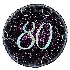 Unique Party- Globo foil de 80 cumpleaños, Color rosa metálico brillante, 45 cm (55800)