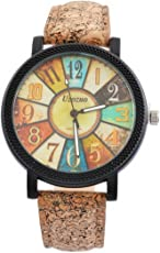Souarts Damen Retro Stil Farbig Streifen Armbanduhr Quartz Analog mit Batterie