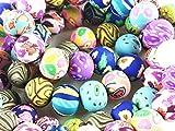 Soccik Glasperlen Porzellan Kugel Keramik Perlen Kugel Ball Spacer Perlen Blume Muster Beads 10mm Schmuck Zubehör 80 Stücke