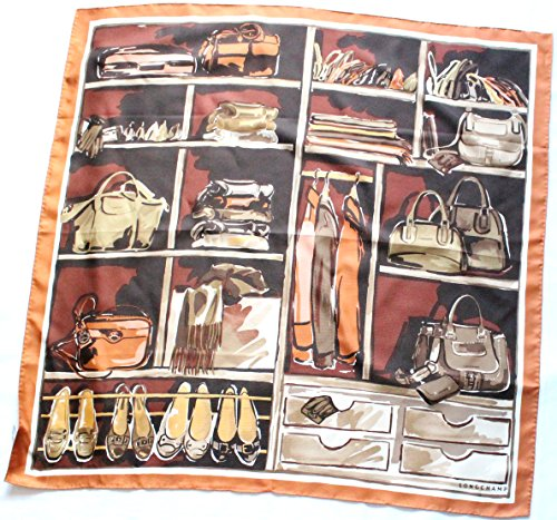 braunes-longchamp-seidentuch-89-x-89cm-schrank-schal-foulard-seide-carre-scarve