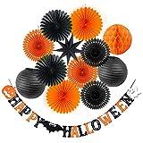 SUNBEAUTY Décoration de Halloween Boules Nid d'abeilles Lanterne Chinois Suspension pour Halloween Party Escalier Deco