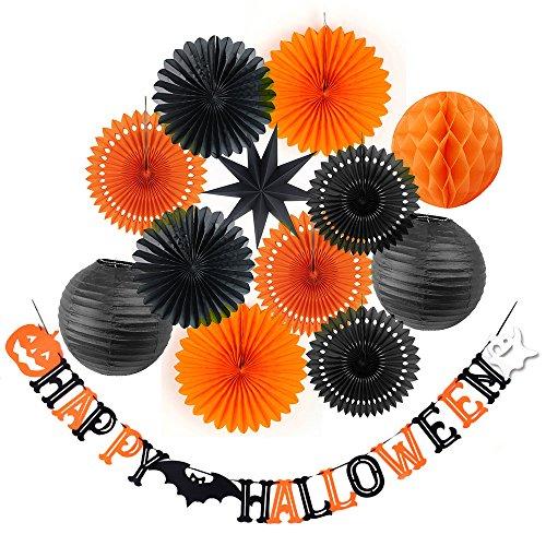 Sunbeauty Halloween Decoración Horror Accesorios para Fiestas en el Pared Puertas Decoraciónes Halloween con Linterna Papel Abanicos Estrella Negro Decorativo, 13 Piezas