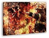 deyoli Feuerwehr Illustration Format: 120x80 als Leinwand, Motiv fertig gerahmt auf Echtholzrahmen, Hochwertiger Digitaldruck mit Rahmen, Kein Poster oder Plakat