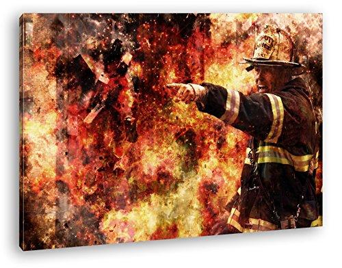 Feuerwehr Illustration Format: 100x70 als Leinwand, Motiv fertig gerahmt auf Echtholzrahmen,...