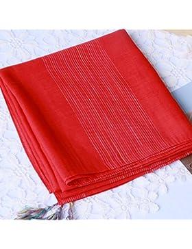 FLYRCX La primavera y el otoño señoras suave transpirable de algodón y lino bufanda chal 190cmx90cm largo verano...