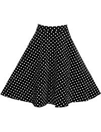 dc62b17c69c8 FTVOGUE Femme Vintage Taille Haute à Pois Imprimé Florale A-Ligne Plisée ...