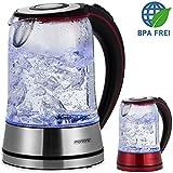 Wasserkocher Teekocher 1,7 L Edelstahl Glas LED Kocher schnurlos kabellos 2200W rot/schwarz