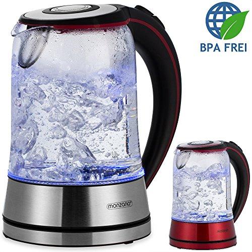 Wasserkocher Edelstahl Teekocher Glas LED ✔BPA frei ✔1,7 L ✔kabellos ✔2200W rot/schwarz