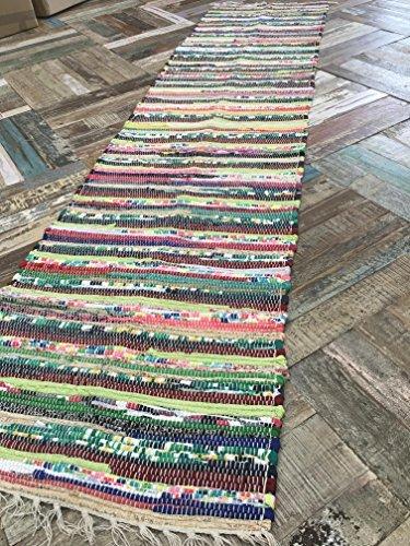 Second Nature alfombra de Algodón Reciclado, Chindi, india, camino, MultiColor, 60cm x 245cm