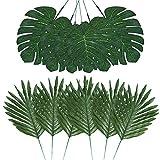 Auihiay 48 Pezzi 4 Tipi di Foglie di Palma Artificiali con steli Finti, pianta Tropicale, Foglie di Monstera, Foglie di Safari per Feste hawaiane Luau, Giungla, Spiaggia, Decorazione da Lasciare
