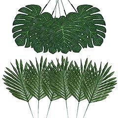 Idea Regalo - Auihiay 48 Pezzi 4 Tipi di Foglie di Palma Artificiali con steli Finti, pianta Tropicale, Foglie di Monstera, Foglie di Safari per Feste hawaiane Luau, Giungla, Spiaggia, Decorazione da Lasciare