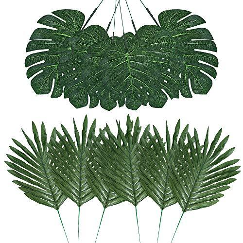 Auihiay 48 pièces 4 Sortes de Feuilles de Palmier artificielles avec tiges Imitation Plantes Tropicales Feuilles de Monstera Feuilles de Safari Feuilles pour fête hawaïenne Luau fête Jungle Plag