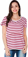 voberry@ Women's Maternity Tops, Striped Pregnant Nursing Multifunctionl Blouse T-Shirt Large Red