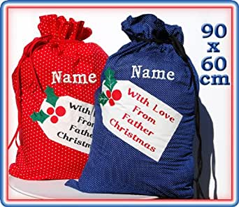 """Large Personalised Christmas Sack 35"""" with Gift Tag/Stocking (Blue)"""