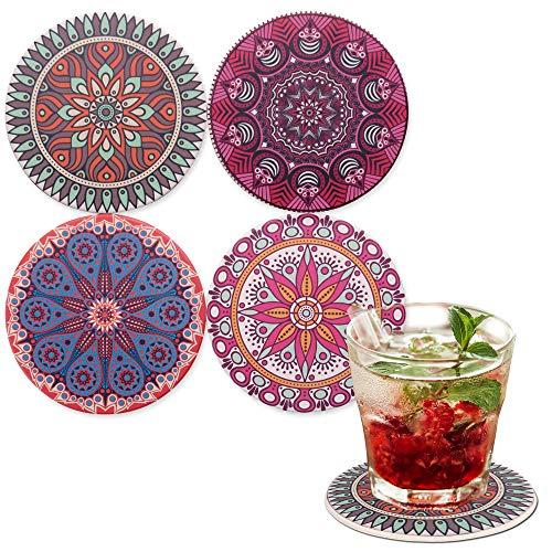 LAZARAH® Saugfähige Untersetzer für Gläser aus Keramik mit Korkrücken, für Gläser, Tassen, Bar, Cocktails, Mandala und Boho Style, für Esstisch und Couchtisch