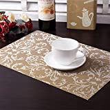 Table Mats (Set of 6), Soriace Place Mats Sets Table Place Dinner Mats Washable, Non-Slip and Environmental Protection Plastic Vinyl Table Mats (45 * 30cm), Gold